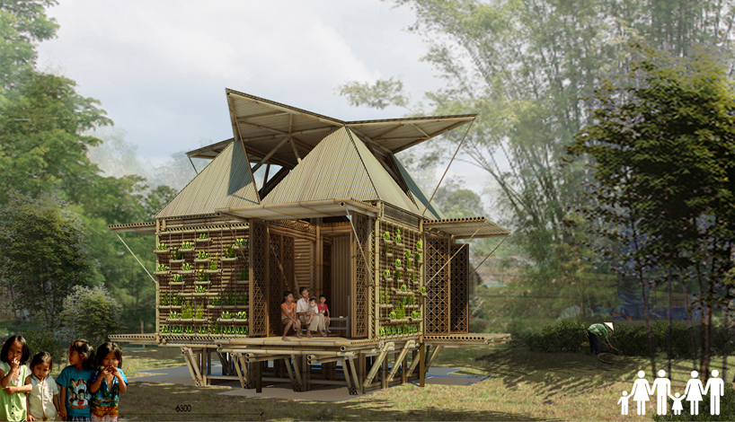 Inexpensive bamboo housing in vietnam by h&p architects links towards the