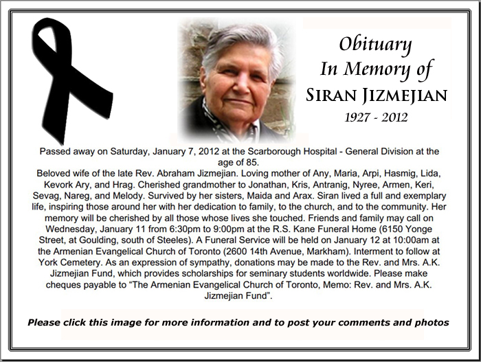 Obituary in the Rank of