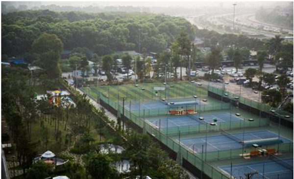 Tennis court in Thang Long Number One.