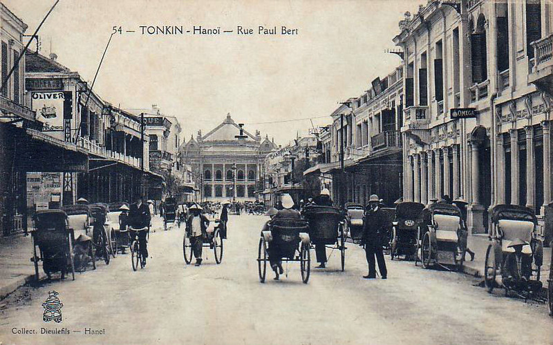 A vintage photograph of Rue Paul Bert (now Trang Tien Street), Hanoi.